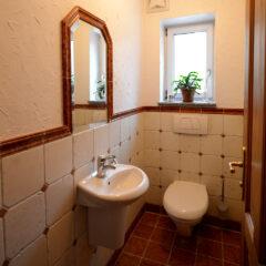 Toilette mit Marmor-Fliesen